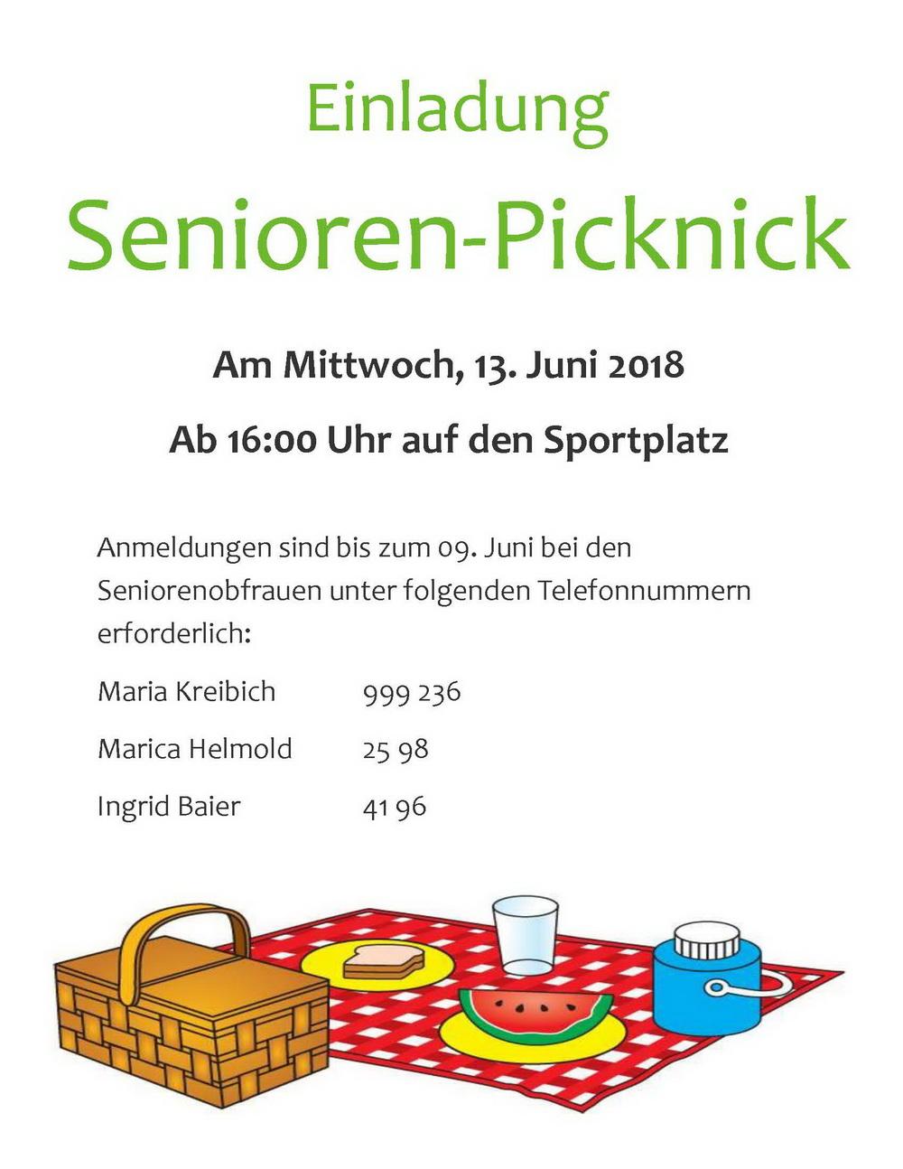 Einladung Picknick der Senioren - mein Fuhrbach